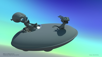 Aliens on a flying saucer | fancyart3d